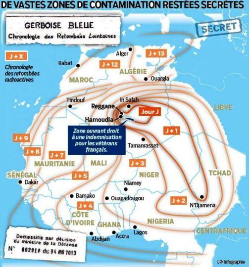 Cette carte montre que, jusqu'au treizième jour suivant l'explosion aérienne, le 13 février 1960, de Gerboise Bleue, la première bombe française, les retombées radioactives se sont étendues à toute l'Afrique de l'Ouest, au sud-est jusqu'à la Centrafrique, ainsi qu'au nord, sur la côte espagnole et la Sicile.