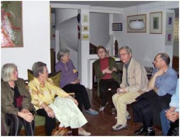 de gauche à droite: Mireille Berthier, Annie Deschamps, Lucette Hadj Ali, Naget Khadda, Germain Allogues et Alain Cymbler