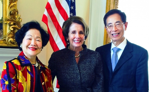 Anson Chan, Nancy Pelosi et Martin Lee (le 3 avril 2014)