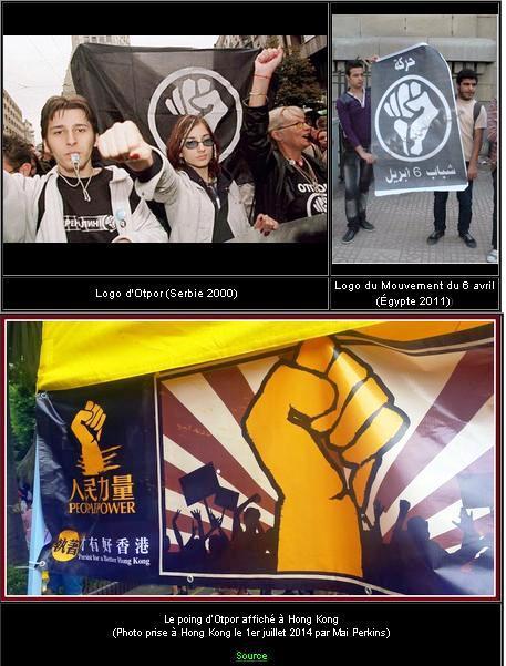 Logo d'Otpor (Serbie 2000) - Logo du Mouvement du 6 avril (Égypte 2011))  Le poing d'Otpor affiché à Hong Kong- (Photo prise à Hong Kong le 1er juillet 2014 par Mai Perkins)